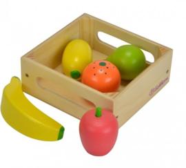 Houten speelgoed fruit in kistje
