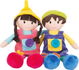 Set van 2 lappen poppen Emma en Noa met motorische functies, Small Foot