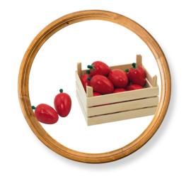 Houten speelgoed kistje met aardbeien