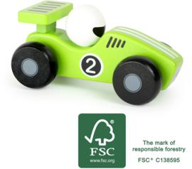 Groene houten raceauto, Small Foot