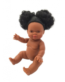 Paola Reina Gordi babypop donker met staartjes in het haar, Paola Reina