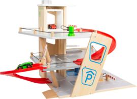 Houten speelgoed Parkeergarage Premium met autos