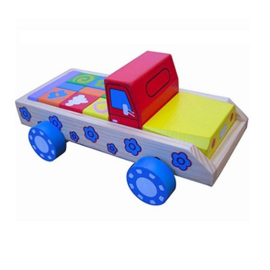 Houten blokkenwagen auto Pastel, Playwood