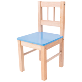 Houten Kinderstoel -  stoeltje in blauw, rood of groen