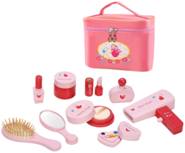 Houten speelgoed  make up in toilettas, roze