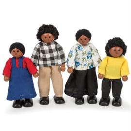 Houten poppenhuis poppetjes donkere familie