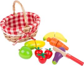 Houten snij fruit en groente in mand, Small Foot