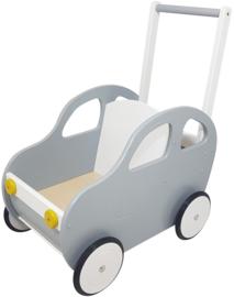 Duwwagen auto grijs; met of zonder eigen naam en/of stripings