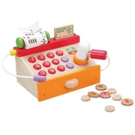 Houten speelgoed kassa met scanner