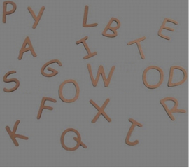 Houten letter alfabet mdf, 6 cm
