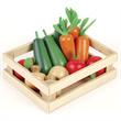 Houten speelgoed groente in kistje, Tidlo