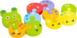 Houten puzzel Rups , leren tellen