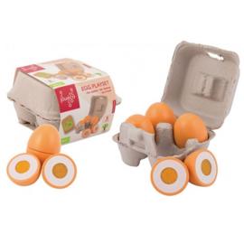 Houten speelgoed eieren met klittenband, in doosje, Jouéco