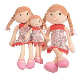 Stoffen pop met bruin haar Olivia, 35 cm