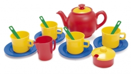 Eco kunststof theeset rood/geel/blauw