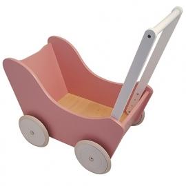Houten poppenwagen zonder kap roze