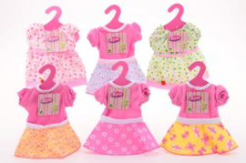 Poppen kleding jurkje, voor pop 40-45 cm, diverse soorten