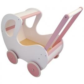 Poppenwagen met houten kap wit met roze accenten