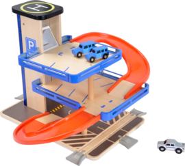 Houten speelgoed garage met auto's, baan en lift