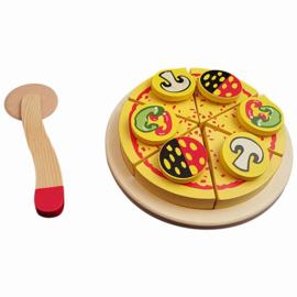 Pizza snijset, 16 cm, op plateau en in kist