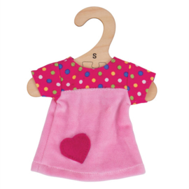 Poppenkleding roze jurkje met stippen , voor pop 28 cm, Bigjigs