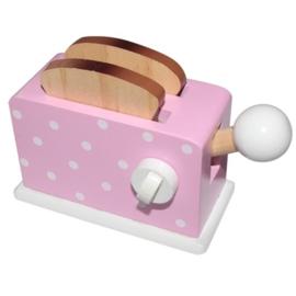 Houten broodrooster roze met toast, Playwood