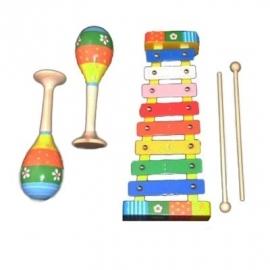 Muziekset klein in houten kistje