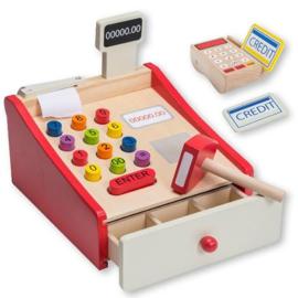 Houten speelgoed kassa, rood 80038