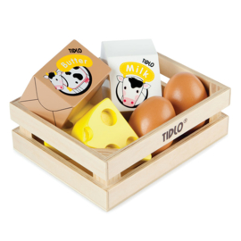 Houten kistje met zuivel: melk, boter,  kaas en eieren - Tidlo