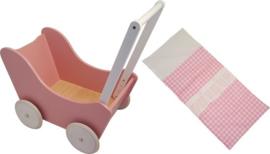 Houten poppenwagen zonder kap roze/witte wielen, inclusief dekje