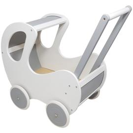 Poppenwagen met houten kap wit met zilvergrijze accenten, Playwood