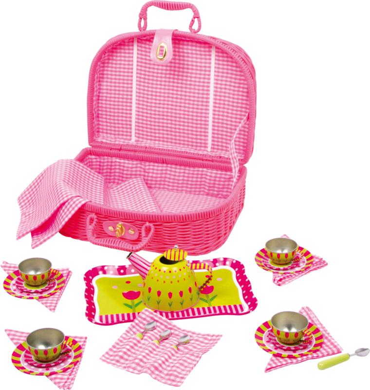 Roze rieten Picknickmand met servies tulp/Tweede keus