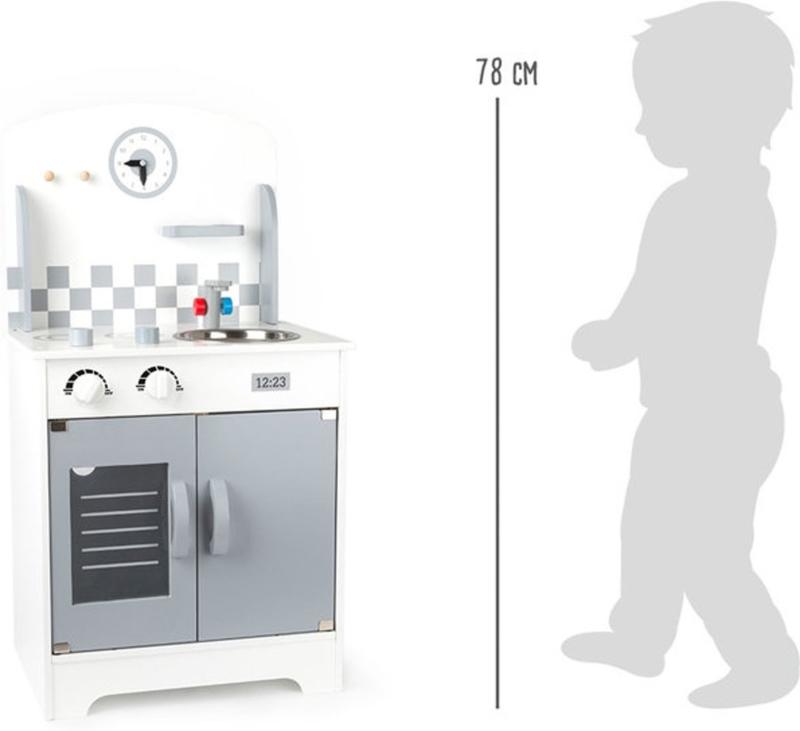 Speelgoed kinderkeuken met klok wit-grijs