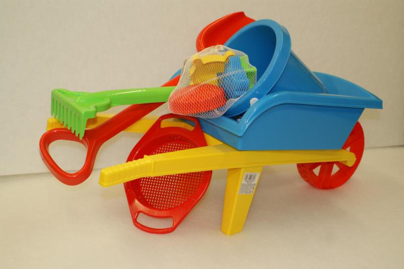Kruiwagen (70 cm) met zandspeelgoed