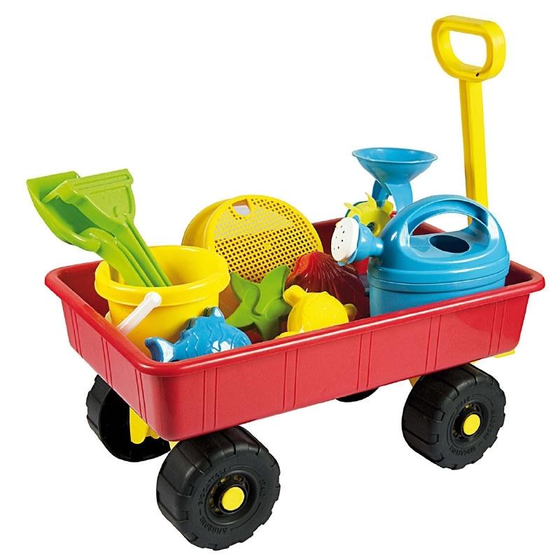 Bolderwagen met zandspeelgoed
