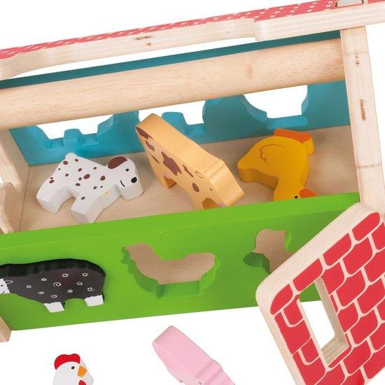 Houten speelgoed boerderij sorteer vormenhuis, Bigjigs