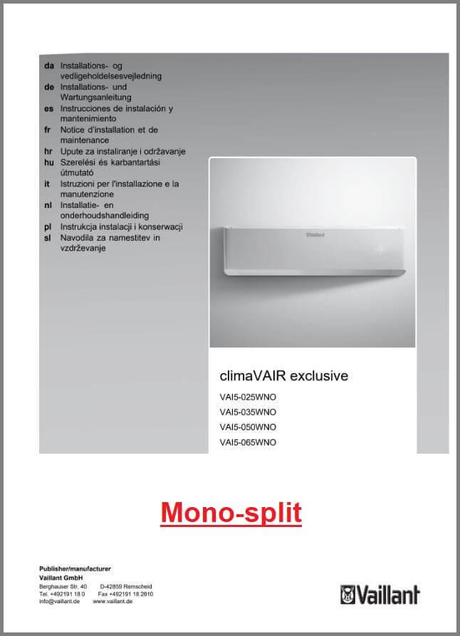 Handleiding Vaillant ClimaVAIr Mono-split