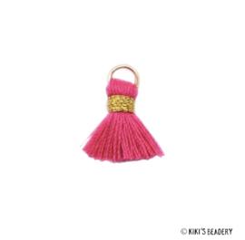 Mini kwastje Goud Roze Fuchia 1.5cm
