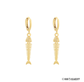 Fish bone oorringen goud