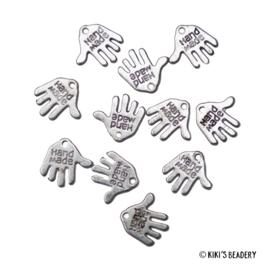 10 stuks Handmade bedels 12,5mm antiek zilver