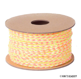 Surfkoord/geweven koord  geel roze 2mm