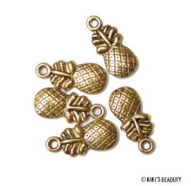 5 stuks Ananas bedels 19,5x9mm goud