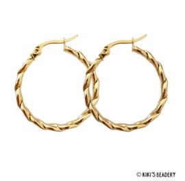 Stainless Steel gouden gevlochten hoops oorringen