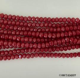 Facet glaskralen bordeaux rood 3x4mm