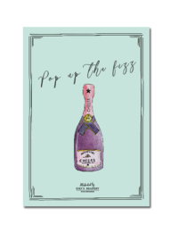 """Pop up the fizz""  Cheers ansichtkaart A6"