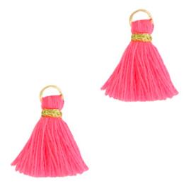 Mini kwastje fluo roze/goud 1.5cm