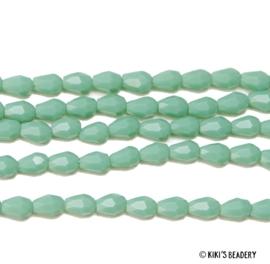 25 stuks facet druppel glaskraal turquoise 3x5mm