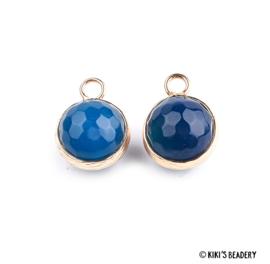 Ronde blauwe agate bedel