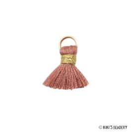 Mini kwastje Goud Antiek Roze 1.5cm