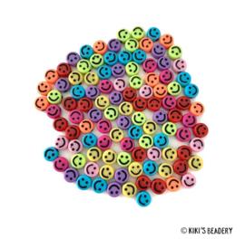Smiley kralen kleurenmix 8mm